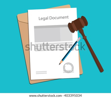 legal document paper illustration with gavel and pencil - stock vector