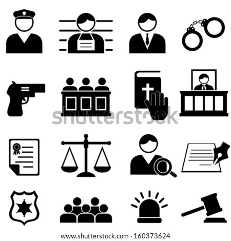 Legal, justice and court icon set - stock vector