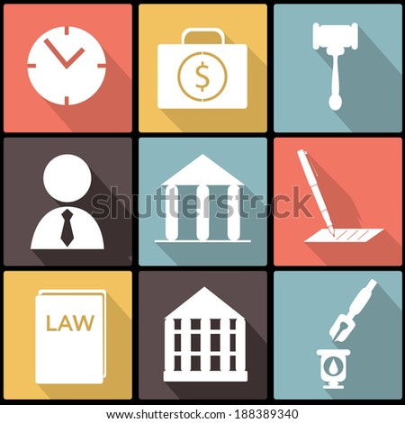 Legal, law and justice icon set in Flat Design for Web and Mobile - stock vector