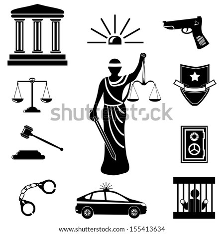 Legal, law and justice icon set .Themis (Femida). A goddess of justice sketch vector illustration - stock vector
