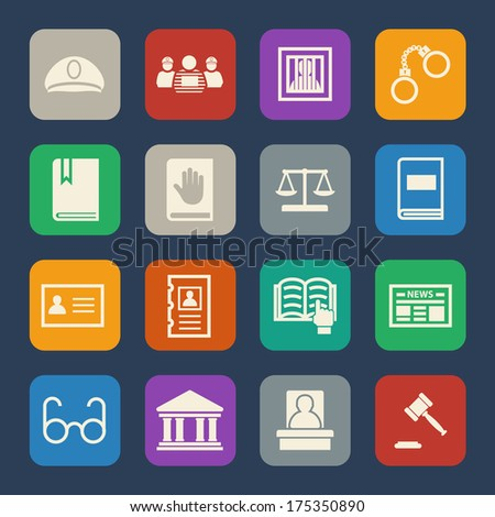 Legal, law and justice icons set. Flat design. - stock vector