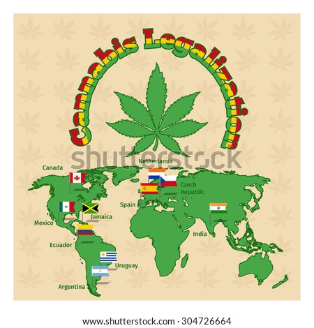 Legalization of marijuana or cannabis legalize.  Plant drug, hemp and map world, legal herb. Vector illustration - stock vector