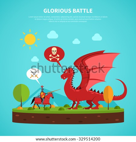 Legendary medieval knight in suit of armor battle with dragon flat abstract pictogram poster print vector illustration - stock vector