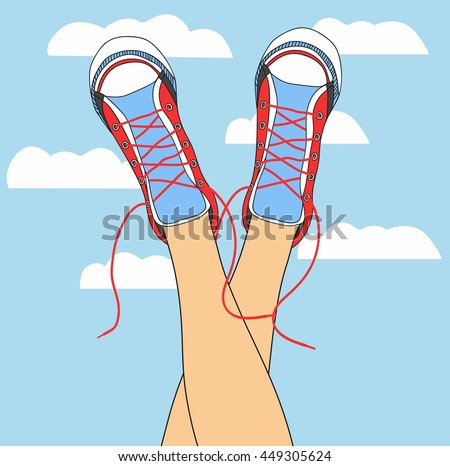 legs in sneakers on the background of the sky with clouds. funky colored shoes gumshoes fashion sneakers isolated. - stock vector
