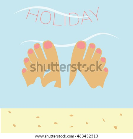 legs with light pink nail polish in the water & sand illustration isolated