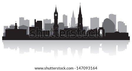 Leicester city skyline silhouette vector illustration