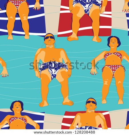 Leisure at beach pattern - stock vector