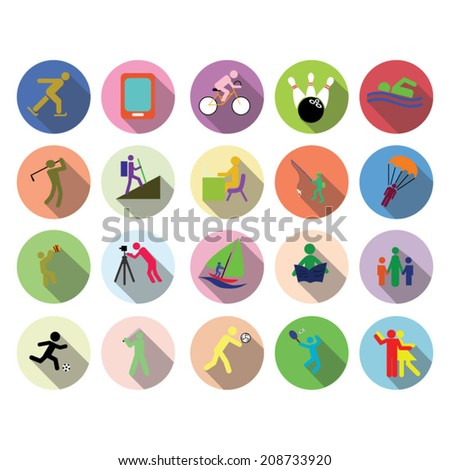 Leisure icon set - stock vector
