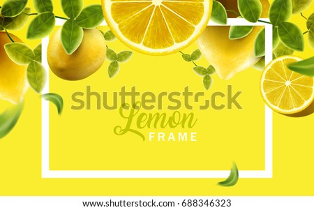 Lemon and green leaves frame, natural and fresh fruit background in yellow color, 3d illustration