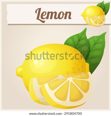 Lemon. Cartoon vector icon. Series of food and drink and ingredients for cooking. - stock vector