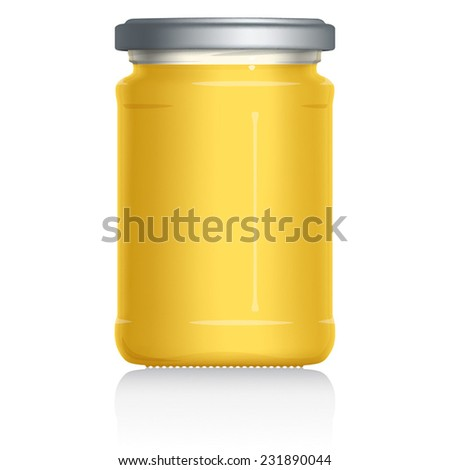 Lemon Curd Jar, vector visual illustration, Drawn with mesh tool. Fully adjustable & scalable. - stock vector