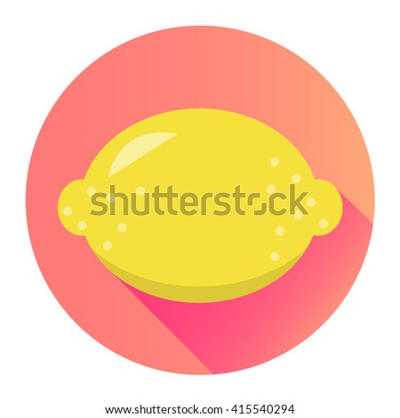 lemon flat design isolated on a circle with shadow
