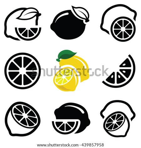 Lemon fruit icon collection - vector outline and silhouette - stock vector
