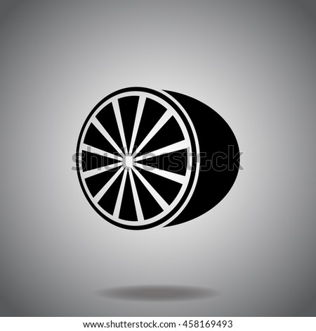 Lemon icon vector. Flat icon on gray background. Simple illustration.