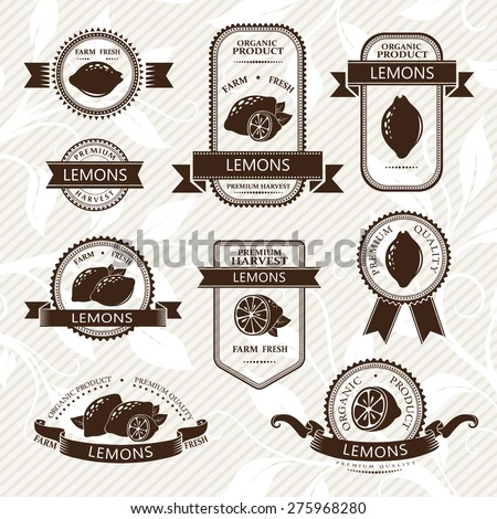 Lemon labels. Fruits badges and stickers collection. Monochrome variant.