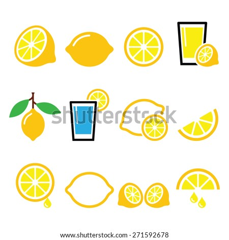 Lemon, lime - food icons set - stock vector