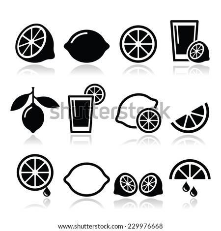 Lemon, lime icons set - stock vector