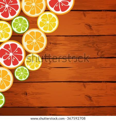 Lemon, lime, orange and grapefruit on wooden background. Healthy fruits. Menu design. Refreshing cocktails. Boards made of wood with fruits in the corner. Vector design illustration. - stock vector