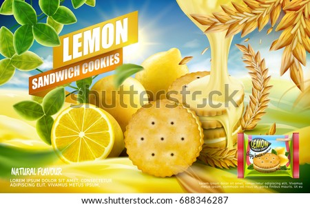 Lemon sandwich cookies ad, crispy refreshing lemon cookies with dripping sauce isolated on orchard background in 3d illustration
