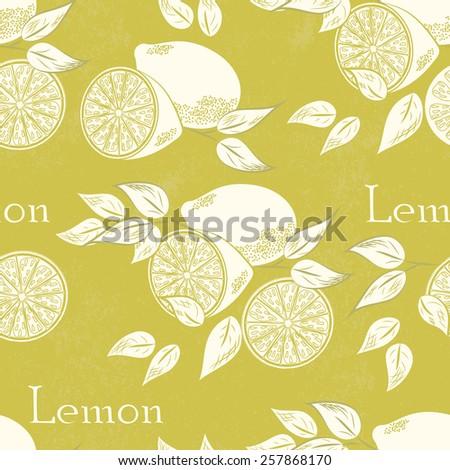Lemon seamless pattern. Vector illustration. Retro fruit design. Vector old paper texture background. - stock vector