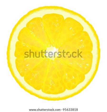 Lemon Segment With Juice, Vector Background - stock vector