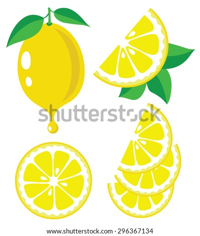 Lemon slices and lemon juice, vector illustrations - stock vector