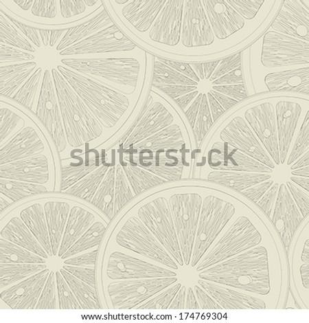 Lemon slices seamless pattern sketch - stock vector