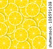 Lemon slices with juice document background - stock vector