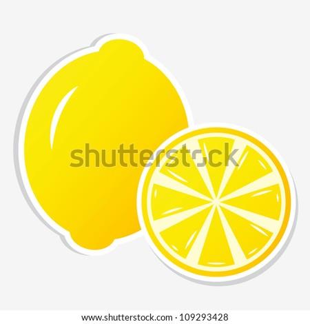 lemon sticker - stock vector
