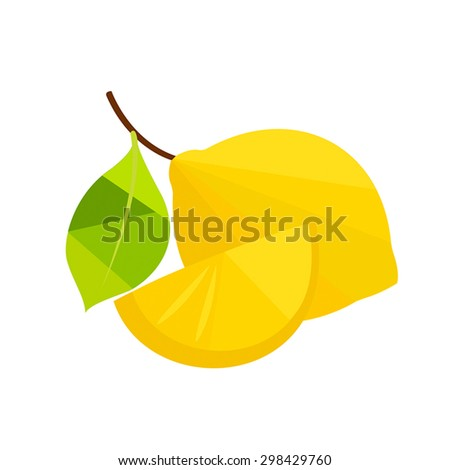 Lemon with leaves, slice of lemon. - stock vector