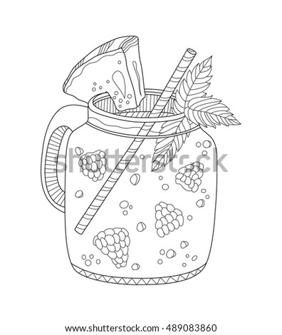 lemonade coloring page for adults in zentangle style