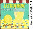 Lemonade poster in vintage style, vector illustration - stock photo