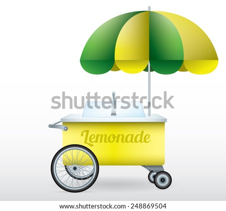 Lemonade stand cart vector illustration isolated object - stock vector