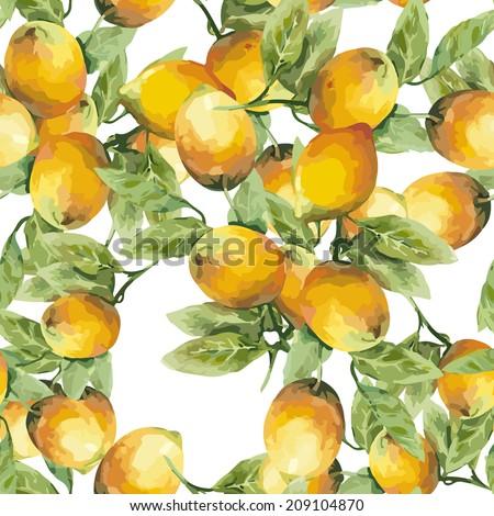 Lemons Seamless Pattern  - stock vector