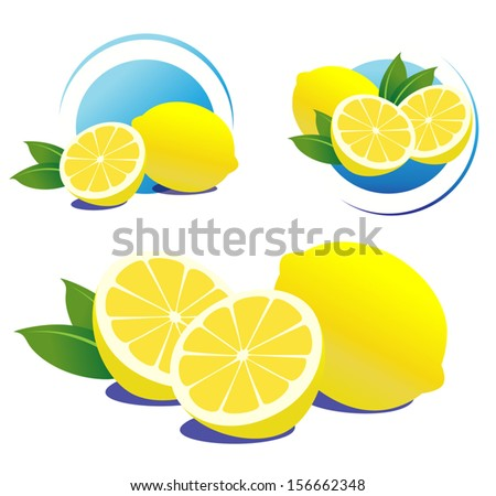Lemons with leaves. File is not flattened. Easy to add your design. - stock vector