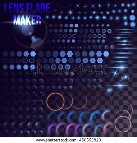 Lens flare maker - big set of blue lighting elements. Circles, rings, hexagons, rainbow halo, spaceship bursts, simple stars on transparent background. Release clipping mask for work.