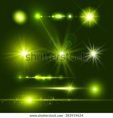 Lens Flare Set. Shining Collection. Vector illustration - stock vector