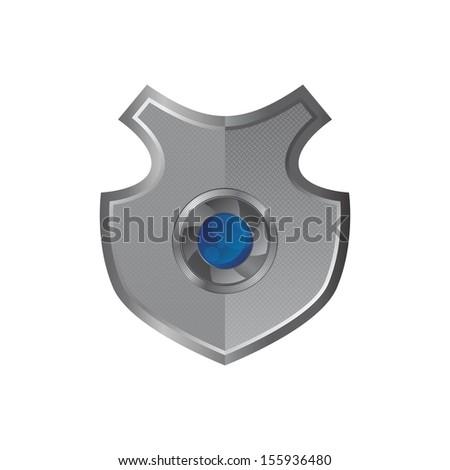 lens inside metal shield - stock vector