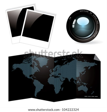 Lens, photo and world map. - stock vector