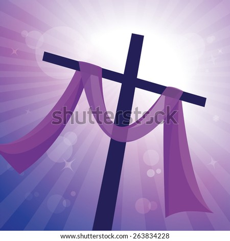 Lenten cross with glory background. Easter day. Crucifixion of Jesus Christ, and His resurrection three days later. - stock vector