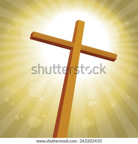 Lenten cross with gold background. Lenten Cross. Glory. - stock vector