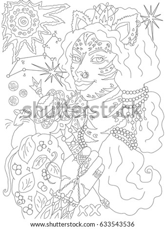 leo constellation star from indian vedas astrology coloring page