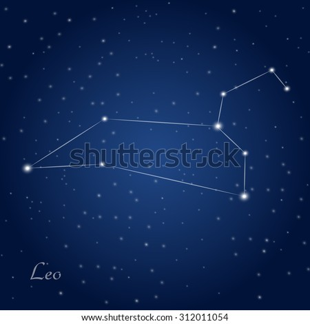 Leo constellation zodiac sign at starry night sky
