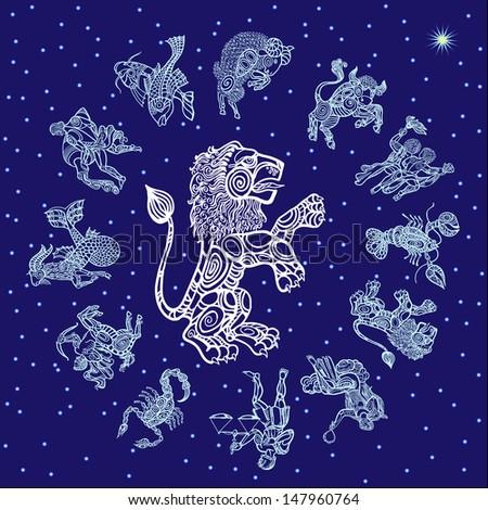 leo, sign of the zodiac - stock vector