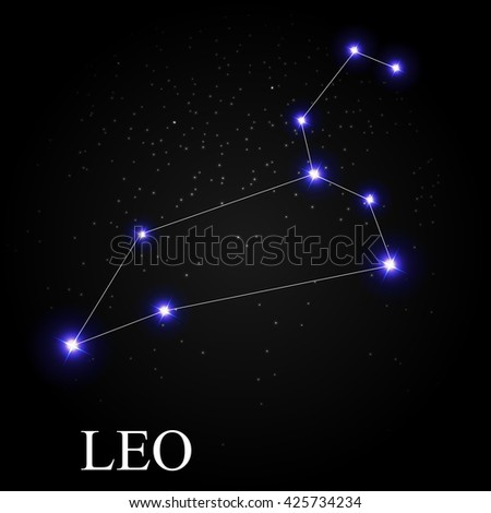 Leo Zodiac Sign with Beautiful Bright Stars on the Background of Cosmic Sky Vector Illustration EPS10 - stock vector