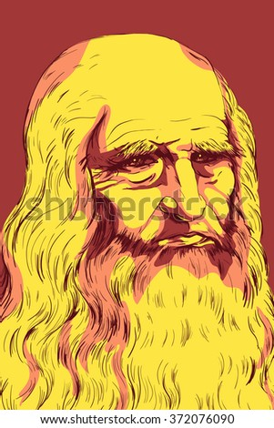 Leonardo da Vinci Self-Portrait, 1512. Colorful vector illustration. - stock vector