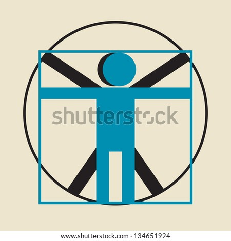 Leonardo da Vinci vitruvian man simplified sign - stock vector