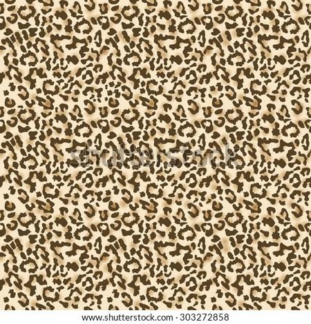 Leopard fur. Realistic seamless fabric pattern. Vector illustration - stock vector