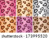 Leopard heart Seamless tiling pattern - stock vector