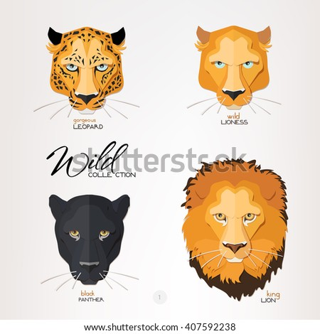 Leopard, lioness, panther and lion face paper portraits. Cute and beautiful big wild cat face. Vector illustration isolated on light background. 3d paper cut out design, layered paper with shadows. - stock vector